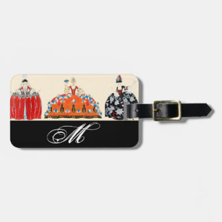 ROCOCO LADY ART DECO FASHION COSTUME MONOGRAM BAG TAG