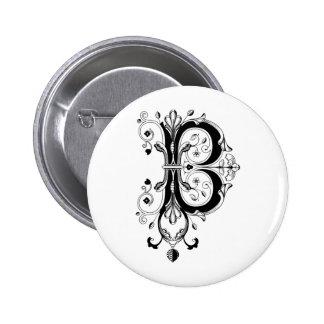 Rococo Monogram Letter B Button
