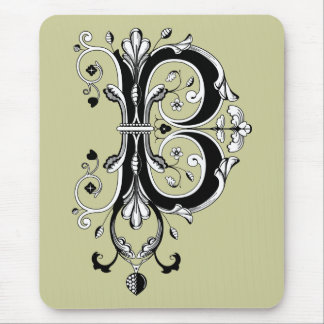 Rococo Monogram Letter B Mouse Pads
