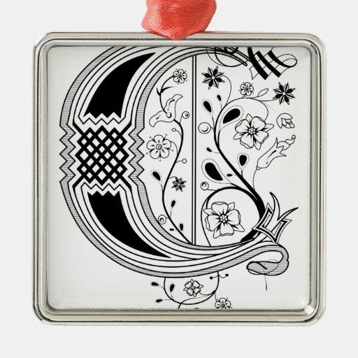 Rococo monogram letter c square metal christmas ornament