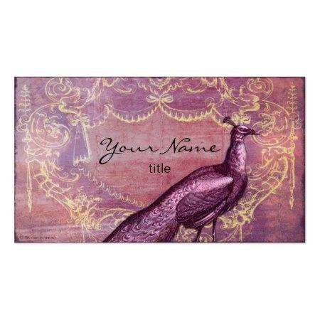 Purple Rococo Vintage Peacock Antique Business Cards