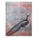 Rococo Peacock Personalized Spiral Journal