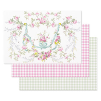 Rococo Roses and Gingham Gift Sheet Set of 3
