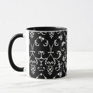 rococo style black and white mug