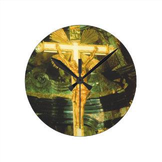 Rococo style crucifix in a Bavarian Church Round Clock