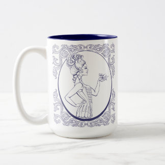 rococo style young woman lined Two-Tone coffee mug