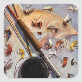 Rod and flies square sticker