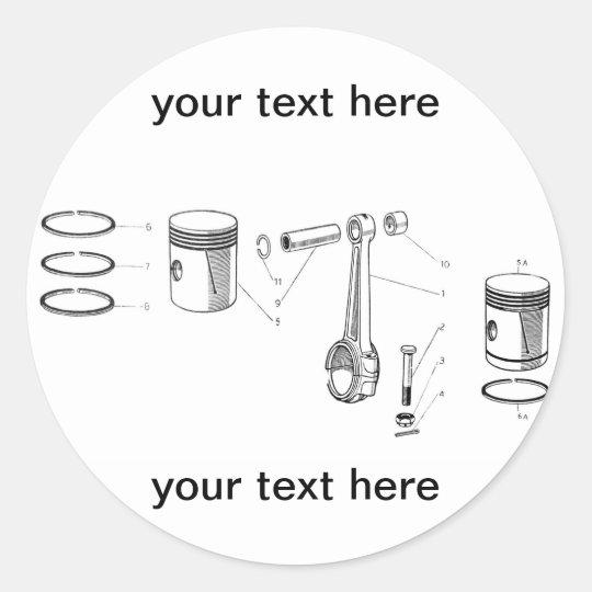 rod and piston classic round sticker