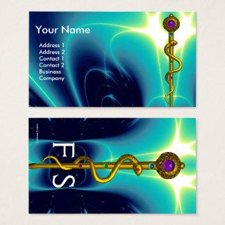 ROD ASCLEPIUS MEDICAL HEALTH CARE Monogram Blue Business Card