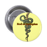 Rod of Asclepius 2 Inch Round Button