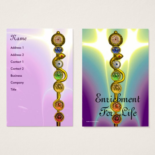 ROD OF ASCLEPIUS,7 CHAKRAS,YOGA INSTRUCTOR pink Business Card