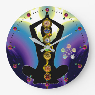 ROD OF ASCLEPIUS 7 CHAKRAS,YOGA LOTUS POSE Purple Large Clock