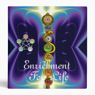 ROD OF ASCLEPIUS 7 CHAKRAS,YOGA ,SPIRITUAL ENERGY 3 RING BINDER