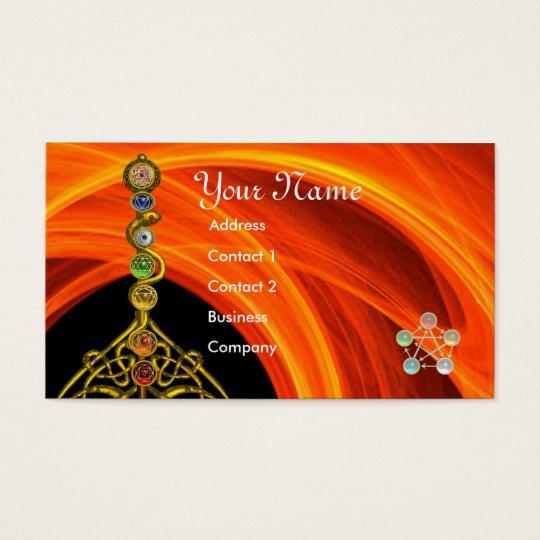 ROD OF ASCLEPIUS,7 CHAKRAS,YOGA ,SPIRITUAL ENERGY BUSINESS CARD