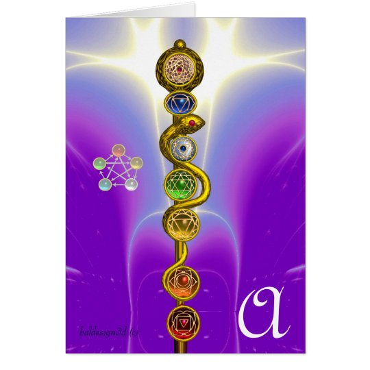 ROD OF ASCLEPIUS 7 CHAKRAS,YOGA ,SPIRITUAL ENERGY CARD