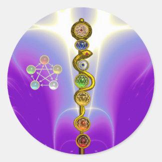 ROD OF ASCLEPIUS 7 CHAKRAS,YOGA ,SPIRITUAL ENERGY CLASSIC ROUND STICKER