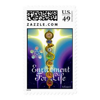 ROD OF ASCLEPIUS 7 CHAKRAS,YOGA ,SPIRITUAL ENERGY POSTAGE