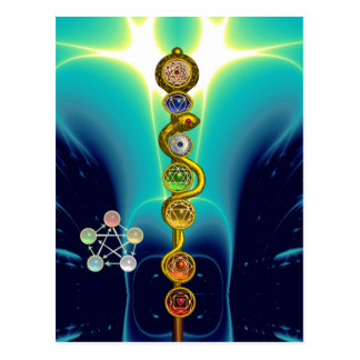ROD OF ASCLEPIUS 7 CHAKRAS,YOGA ,SPIRITUAL ENERGY POSTCARD