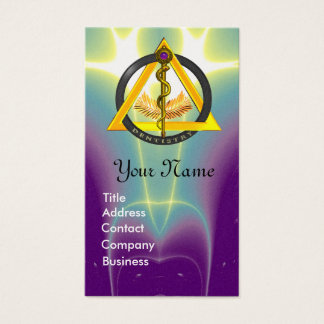 ROD OF ASCLEPIUS DENTIST DENTISTRY MONOGRAM PEARL BUSINESS CARD
