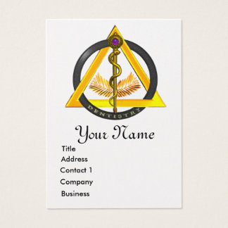 ROD OF ASCLEPIUS DENTIST DENTISTRY PEARL MONOGRAM BUSINESS CARD