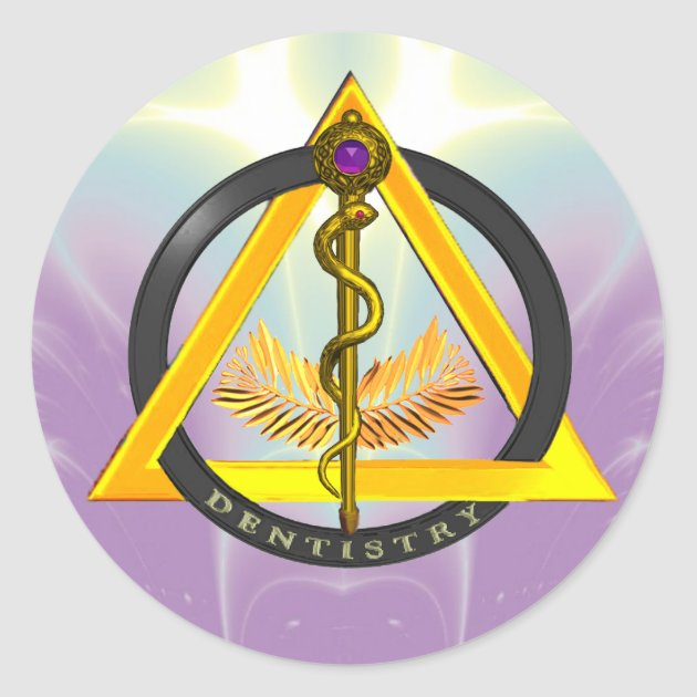 ROD OF ASCLEPIUS DENTIST DENTISTRY SYMBOL CLASSIC ROUND STICKER ...