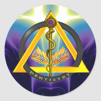 ROD OF ASCLEPIUS DENTIST DENTISTRY SYMBOL CLASSIC ROUND STICKER