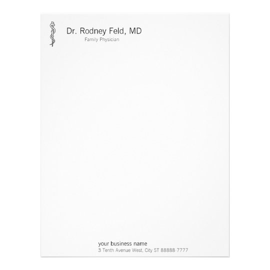 Rod of Asclepius [medical symbol] Letterhead