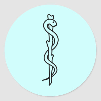 Rod of Asclepius medical symbol Round Sticker
