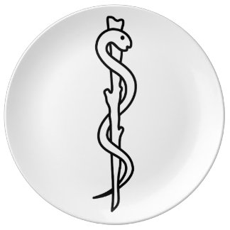 Rod of Asclepius Porcelain Plate