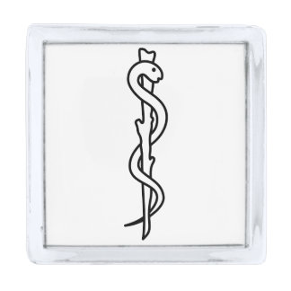 Rod of Asclepius Silver Finish Lapel Pin