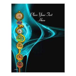 """ROD OF ASCLEPIUS WITH 7 CHAKRAS ,SPIRITUAL ENERGY 8.5"""" X 11"""" FLYER"""