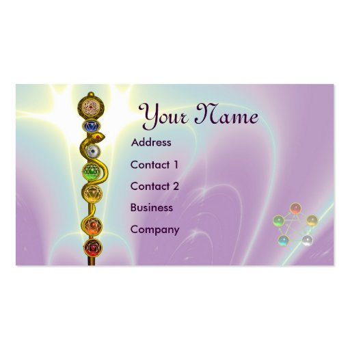 ROD OF ASCLEPIUS WITH 7 CHAKRAS ,SPIRITUAL ENERGY BUSINESS CARD TEMPLATES