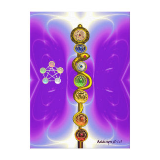 ROD OF ASCLEPIUS WITH 7 CHAKRAS ,SPIRITUAL ENERGY CANVAS PRINTS