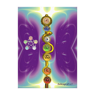 ROD OF ASCLEPIUS WITH 7 CHAKRAS ,SPIRITUAL ENERGY GALLERY WRAPPED CANVAS