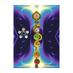 ROD OF ASCLEPIUS WITH 7 CHAKRAS ,SPIRITUAL ENERGY STRETCHED CANVAS PRINT