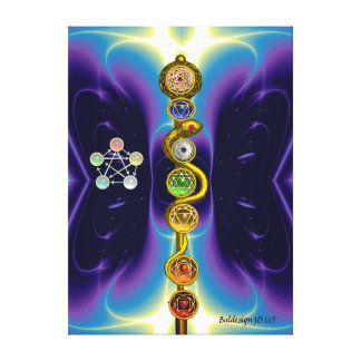 ROD OF ASCLEPIUS WITH 7 CHAKRAS SPIRITUAL ENERGY STRETCHED CANVAS PRINT