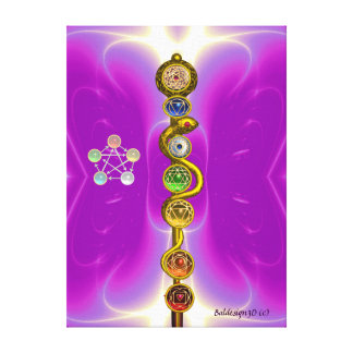 ROD OF ASCLEPIUS WITH 7 CHAKRAS ,SPIRITUAL ENERGY STRETCHED CANVAS PRINTS