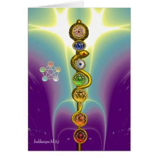 ROD OF ASCLEPIUS WITH 7 CHAKRAS ,SPIRITUAL ENERGY CARD