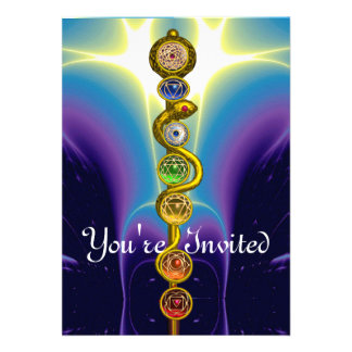 ROD OF ASCLEPIUS WITH 7 CHAKRAS ,SPIRITUAL ENERGY PERSONALIZED INVITE