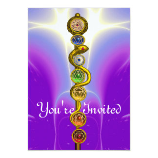 ROD OF ASCLEPIUS WITH 7 CHAKRAS ,SPIRITUAL ENERGY INVITE