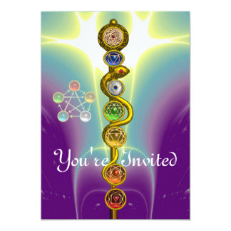 ROD OF ASCLEPIUS WITH 7 CHAKRAS ,SPIRITUAL ENERGY PERSONALIZED ANNOUNCEMENT