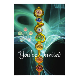 ROD OF ASCLEPIUS WITH 7 CHAKRAS ,SPIRITUAL ENERGY INVITATIONS