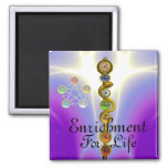 ROD OF ASCLEPIUS WITH 7 CHAKRAS ,SPIRITUAL ENERGY REFRIGERATOR MAGNETS