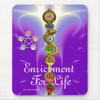 ROD OF ASCLEPIUS WITH 7 CHAKRAS ,SPIRITUAL ENERGY MOUSE PAD