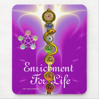 ROD OF ASCLEPIUS WITH 7 CHAKRAS ,SPIRITUAL ENERGY MOUSEPADS