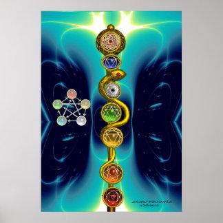 ROD OF ASCLEPIUS WITH 7 CHAKRAS ,SPIRITUAL ENERGY PRINT