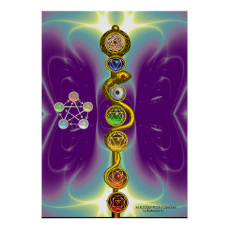 ROD OF ASCLEPIUS WITH 7 CHAKRAS ,SPIRITUAL ENERGY POSTERS