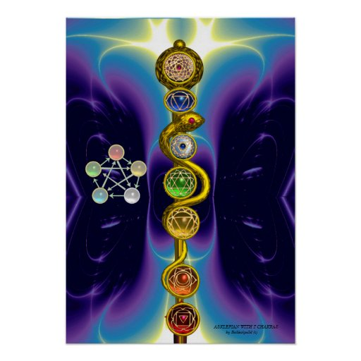ROD OF ASCLEPIUS WITH 7 CHAKRAS ,SPIRITUAL ENERGY POSTER