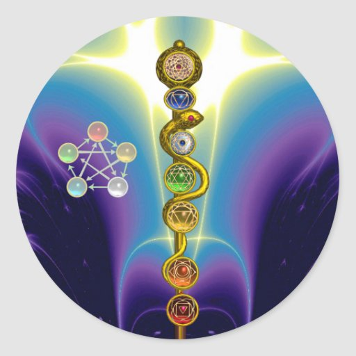 ROD OF ASCLEPIUS WITH 7 CHAKRAS ,SPIRITUAL ENERGY CLASSIC ROUND STICKER