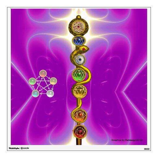 ROD OF ASCLEPIUS WITH 7 CHAKRAS ,SPIRITUAL ENERGY WALL SKINS